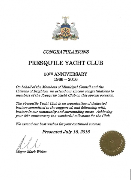 Th Congratulation Letters  Presquile Yacht Club