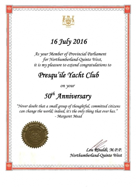 50th Congratulation Letters Presquile Yacht Club